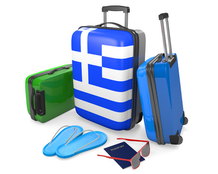 destinations: Travel luggage items and accessories for a vacation to or from Greece, 3D rendering Stock Photo