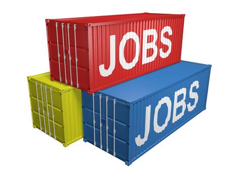 trabajo: contenedores de exportación de envío etiquetados para la externalización del trabajo, representación 3D Foto de archivo