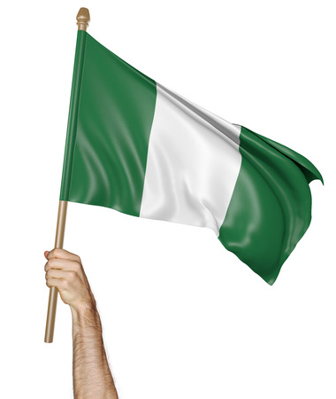 proudly: Hand proudly waving the national flag of Nigeria, 3D rendering Stock Photo