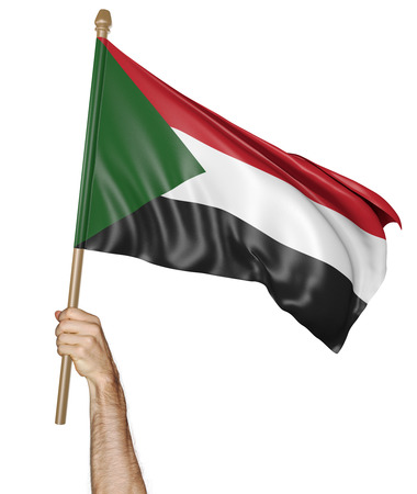 proudly: Hand proudly waving the national flag of Sudan, 3D rendering