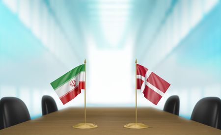 talks: Iran and Denmark relations and trade deal talks, 3D rendering