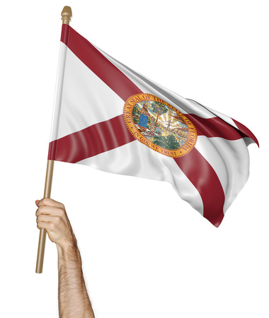 floridian: Hand proudly waving the state flag of Florida, 3D rendering Stock Photo