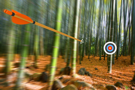 target: Arrow moving through air to target with radial motion blur, part photo, part 3D rendering