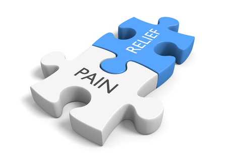 relief: Health concept of puzzle pieces illustrating pain relief, 3D rendering