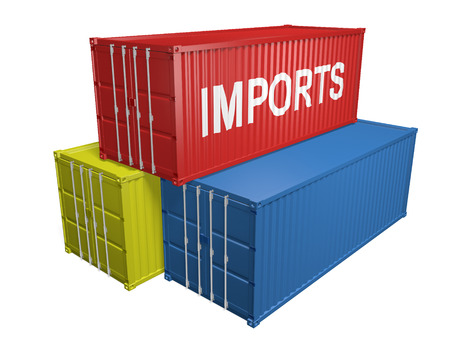 imports: Red, yellow, and blue shipping containers for foreign imports, 3D rendering