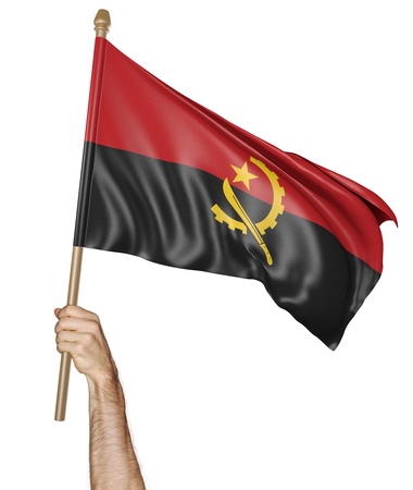 proudly: Hand proudly waving the national flag of Angola, 3D rendering
