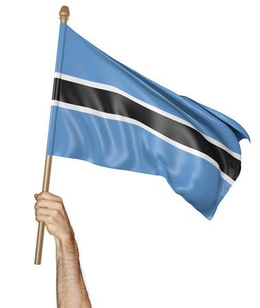 personas saludando: Agitando la mano con orgullo la bandera nacional de Botswana, 3D Foto de archivo