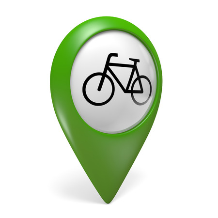 paths: Green map pointer icon with a bicycle symbol for bike paths and cycling, 3D rendering