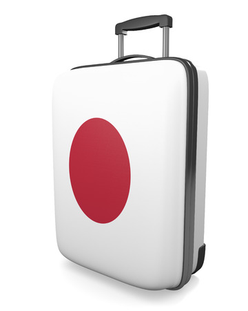 carryall: Japan vacation destination concept of a flag painted travel suitcase, 3D rendering