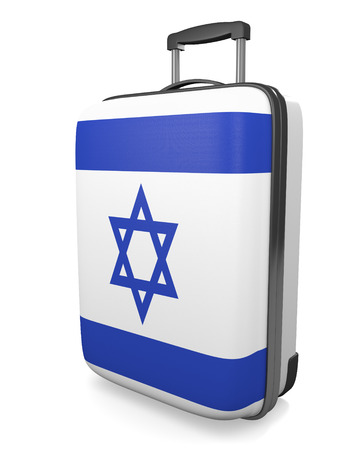 israel flag: Israel vacation destination concept of a flag painted travel suitcase, 3D rendering