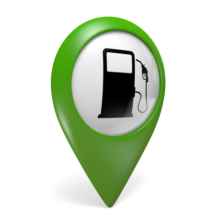 fuel pump: Green map pointer icon with a fuel pump symbol for gas stations, 3D rendering