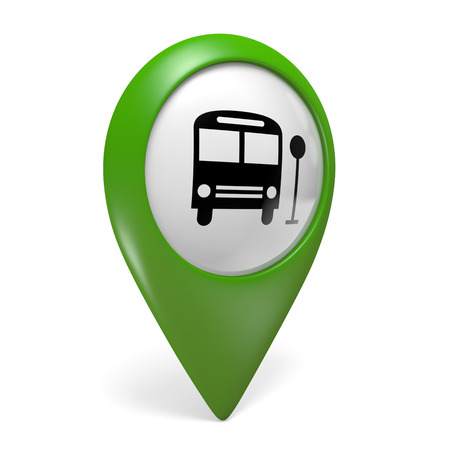 pointers: Green map pointer icon with a bus symbol for public transport, 3D rendering