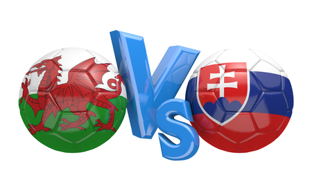 football teams: Football competition between national teams Wales and Slovakia, 3D rendering