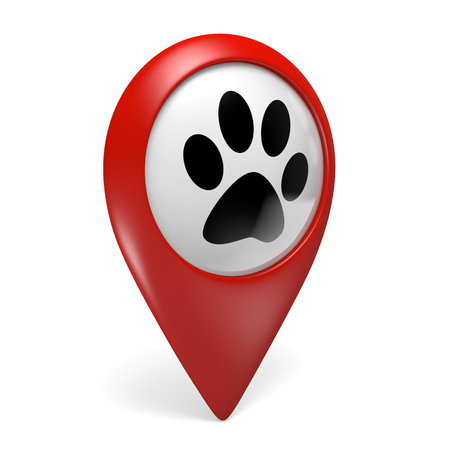 pet services: Red map pointer icon with a paw symbol for pet shops and pet services, 3D rendering Stock Photo