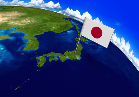 Flag marker over country of Japan on globe map 3D rendering, parts of this image furnished by NASA Foto de archivo
