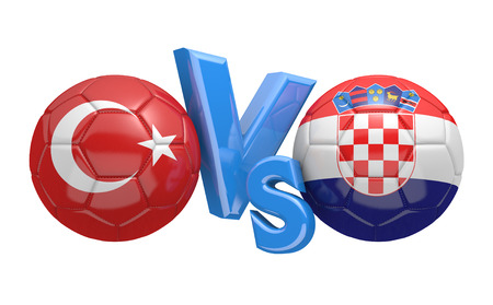 football teams: Football competition between national teams Turkey and Croatia, 3D rendering
