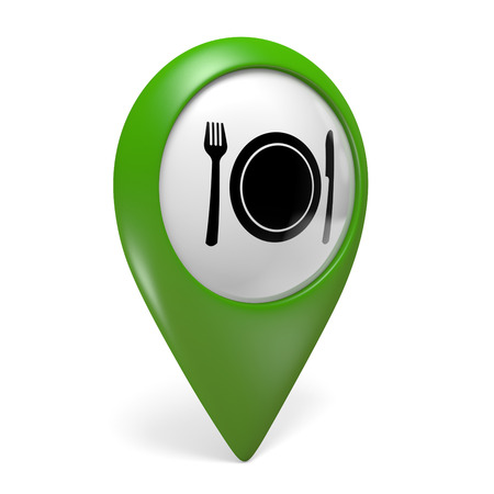 plate of food: Green map pointer icon with a food plate symbol for restaurants, 3D rendering Stock Photo
