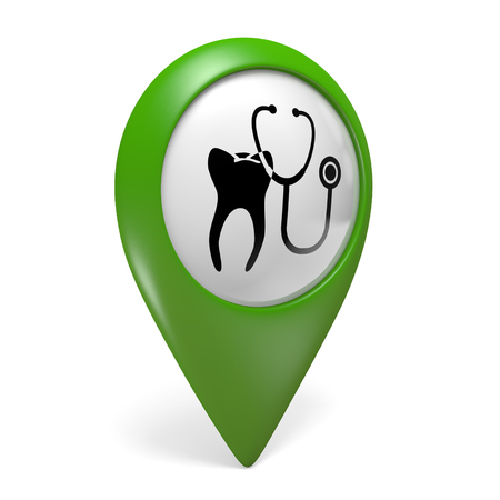 stomatologist: Green map pointer icon with a tooth symbol for dental clinics, 3D rendering