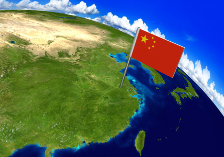 world flag: Flag marker over country of China on world map 3D rendering, parts of this image furnished by NASA