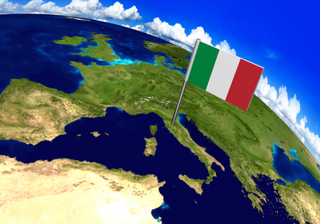world flag: Flag marker over country of Italy on world map 3D rendering, parts of this image furnished by NASA