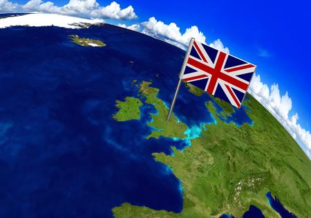 Bandera marcador sobre el país de Reino Unido en el mapa del mundo Representación 3D, partes de esta imagen proporcionada por la NASA