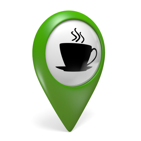 caffe: Green map pointer icon with a coffee cup symbol for cafes and bistros, 3D rendering