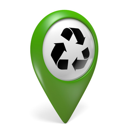 centers: Green map pointer icon with a symbol for recycling centers, 3D rendering