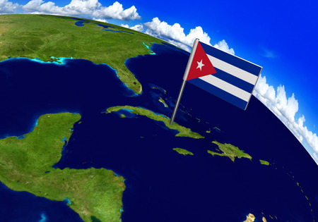 foreign land: Flag marker over country of Cuba on world map 3D rendering, parts of this image furnished by NASA