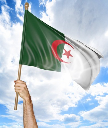 algerian: Persons hand holding the Algerian national flag and waving it in the sky, 3D rendering Stock Photo
