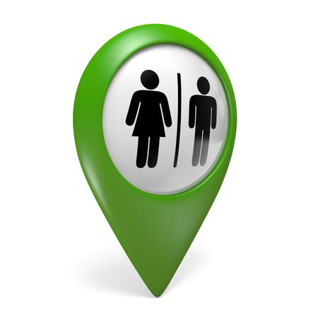 senhora: Ícone do ponteiro do mapa verde com símbolos masculinos e femininos de gênero para banheiros, renderização 3D