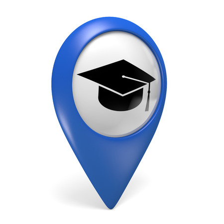 white hat: Blue map pointer icon with a grad cap symbol for colleges and universities, 3D rendering Stock Photo