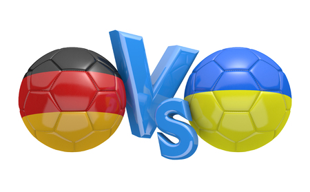 football teams: Football competition between national teams Germany and Ukraine, 3D rendering
