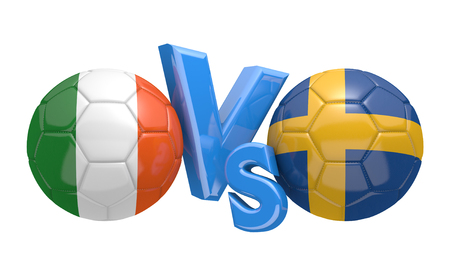 football teams: Football competition between national teams Ireland and Sweden, 3D rendering