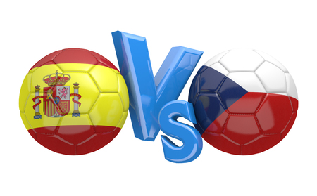 football teams: Football competition between national teams Spain and Czech Republic, 3D rendering