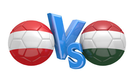 football teams: Football competition between national teams Austria and Hungary, 3D rendering Stock Photo