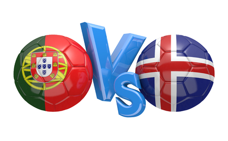 football teams: Football competition between national teams Portugal and Iceland, 3D rendering Stock Photo