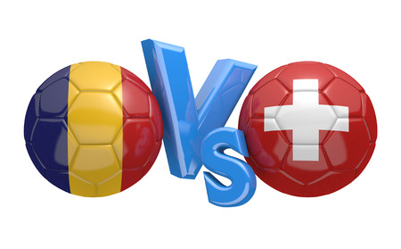 football teams: Football competition between national teams Romania and Switzerland, 3D rendering Stock Photo