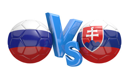 football teams: Football competition between national teams Russia and Slovakia, 3D rendering