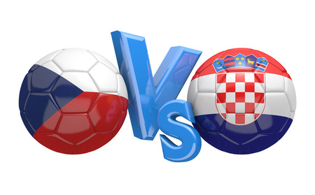 football teams: Football competition between national teams Czech Republic and Croatia, 3D rendering