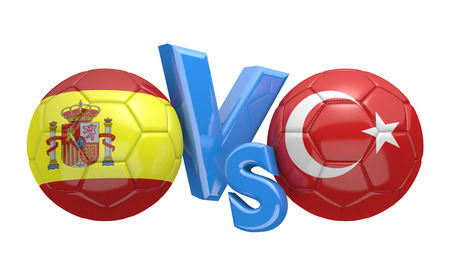 football teams: Football competition between national teams Spain and Turkey, 3D rendering Stock Photo