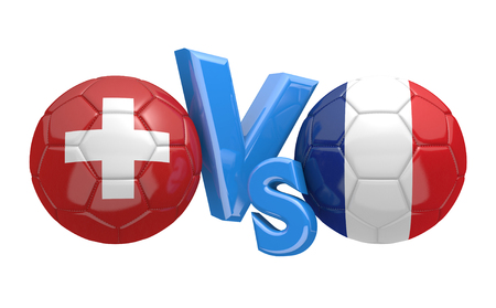 football teams: Football competition between national teams Switzerland and France, 3D rendering Stock Photo