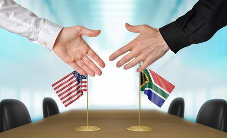 agree: Estados Unidos y Sudáfrica diplomáticos están de acuerdo en darle la mano a trato, la presentación de elementos 3D