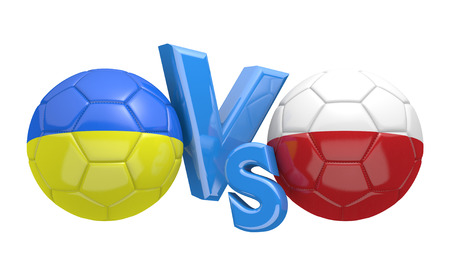 football teams: Football competition between national teams Ukraine and Poland, 3D rendering