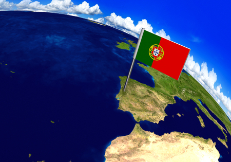 voyage: Flag marker over country of Portugal on world map 3D rendering, parts of this image furnished by NASA Stock Photo