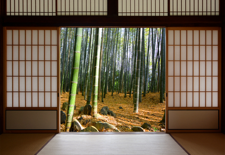 Open Japanese sliding doors and lush green bamboo forest
