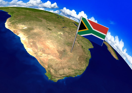 Flag marker over country of South Africa on world map 3D rendering, parts of this image furnished by NASA