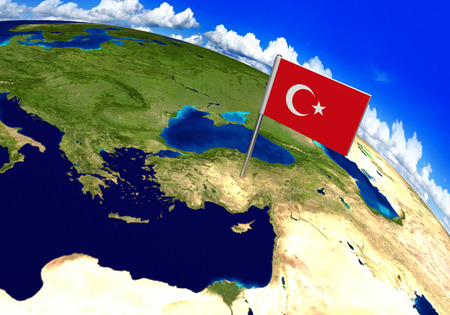 Flag marker over country of Turkey on world map 3D rendering, parts of this image furnished by NASA 免版税图像