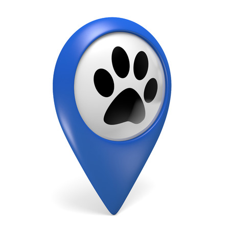pet services: Blue map pointer icon with a paw symbol for pet shops and pet services, 3D rendering