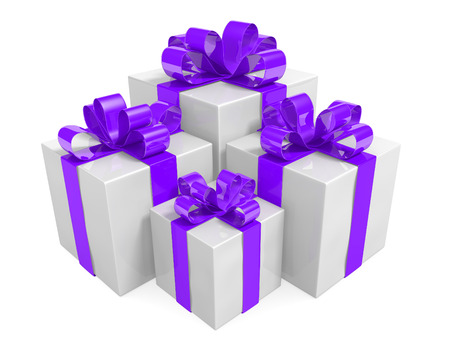 adorned: Group of white gift boxes adorned with pretty violet ribbons and bows, 3D rendering Stock Photo