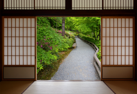 Japanese sliding wood doors opened to a peaceful green nature path photo & Sliding Japanese Doors And Fish Pond With Colorful Orange Carp ...